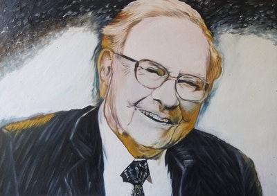 A painting of person, glasses, vision care, professional, business executive, executive officer, portrait, senior citizen, smile, official