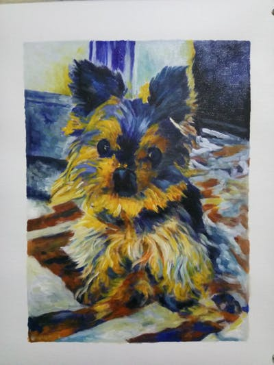 A painting of dog, dog like mammal, dog breed, vertebrate, yorkshire terrier, morkie, dog breed group, terrier, carnivoran, small terrier
