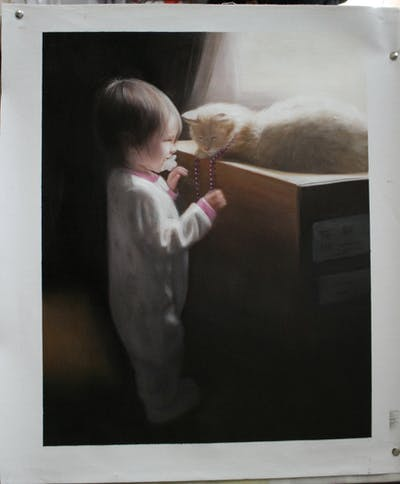 A painting of toddler, child, fun, product, girl, space