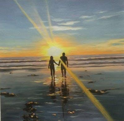 A painting of sea, horizon, sky, reflection, sunrise, sun, water, sunset, calm, shore