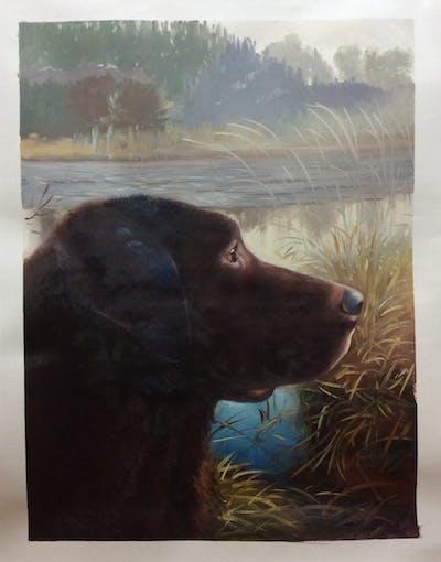 A painting of labrador retriever, dog breed, dog, dog like mammal, retriever, snout, sporting group, borador, pointing breed, grass