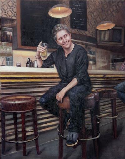 A painting of bar, restaurant, facial hair, pub