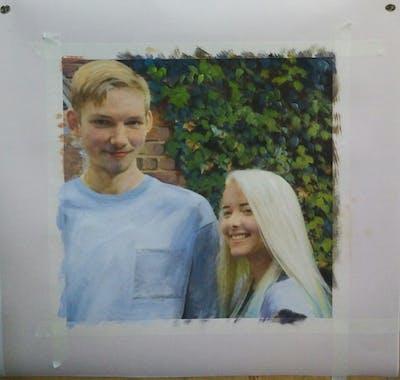 A painting of hair, human hair color, blond, outerwear, girl, socialite, long hair, fun, smile