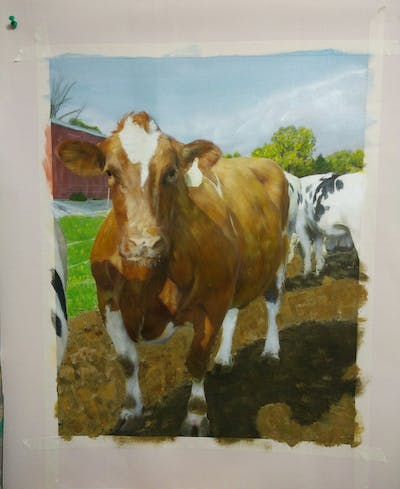 A painting of cattle like mammal, dairy cow, cow goat family, livestock, ox, calf, horn, pasture, snout, bull