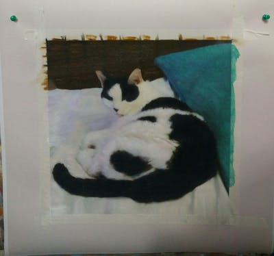 A painting of cat, small to medium sized cats, cat like mammal, whiskers, carnivoran, dog breed group, paw