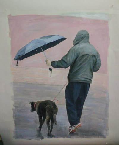 A painting of dog, dog like mammal, rain, dog walking, snow, winter, street, fun, water, walking
