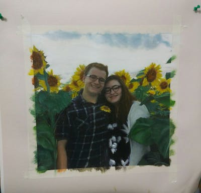 A painting of sunflower, flower, flowering plant, yellow, plant, smile, sunflower seed, spring, daisy family, fun