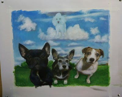 A painting of dog like mammal, dog, dog breed, mammal, dog breed group, vertebrate, maltese, carnivoran, puppy, samoyed