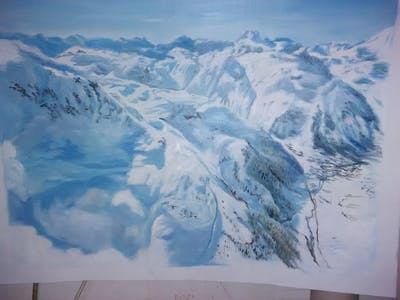 A painting of mountain range, mountainous landforms, massif, sky, mountain, geological phenomenon, glacial landform, alps, nunatak, winter