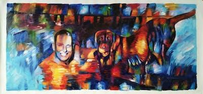 A painting of dog, mammal, dog like mammal, fun, swimming pool, water, vacation, retriever, leisure, nova scotia duck tolling retriever