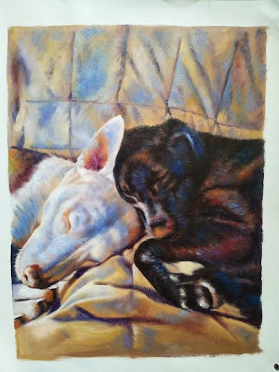 A painting of dog breed, dog, nose, dog like mammal, snout, bull terrier, dog breed group, puppy, whiskers, american pit bull terrier