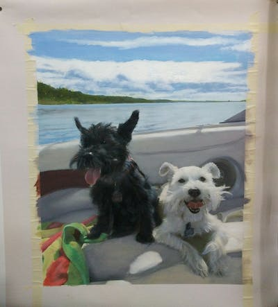A painting of dog, dog like mammal, vertebrate, dog breed, snout, vacation, miniature schnauzer, fun, dog crossbreeds, vulnerable native breeds