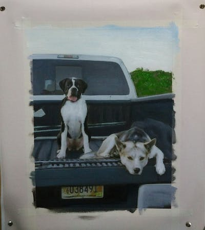 A painting of dog, vehicle, car, dog breed, dog like mammal, automotive exterior, snout, boat, auto part