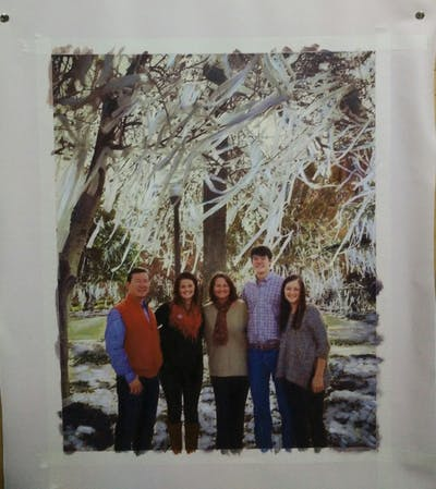 A painting of people, tree, photograph, woody plant, plant, winter, fun, friendship, family, spring