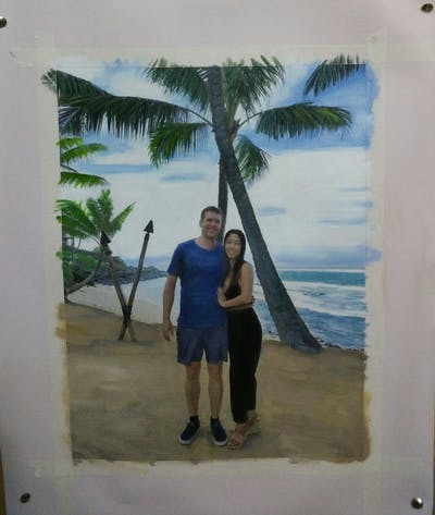 A painting of beach, body of water, vacation, tree, fun, sea, tourism, plant, sand, arecales
