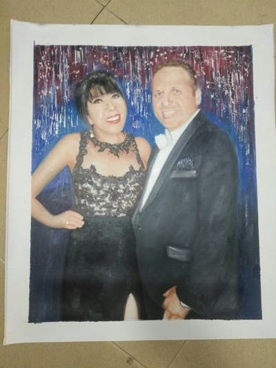 A painting of formal wear, lady, suit, fun, socialite, event, girl, tuxedo, smile, ceremony