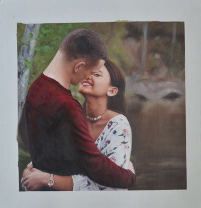 A painting of photograph, emotion, love, interaction, romance, kiss, girl, hug, smile