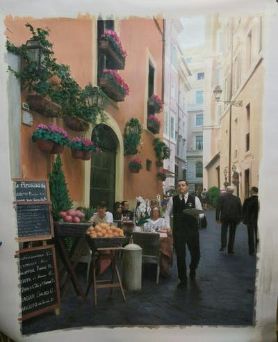 A painting of town, street, neighbourhood, city, pedestrian, market, alley, marketplace