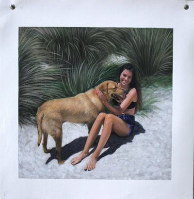 A painting of dog, dog like mammal, girl, wildlife