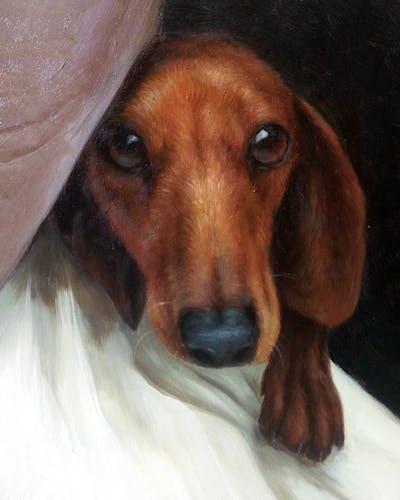 A painting of dog, dog breed, dachshund, dog like mammal, snout, hound, carnivoran, scent hound, treeing walker coonhound, dog crossbreeds