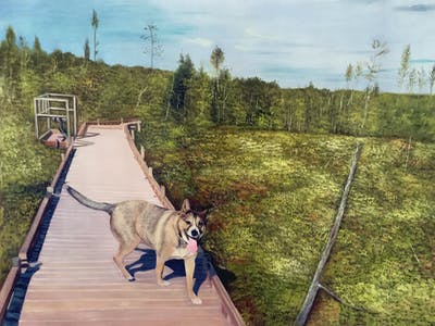 A painting of path, trail, tree, grass, plant, road, outdoor structure, walkway, adventure, dog like mammal