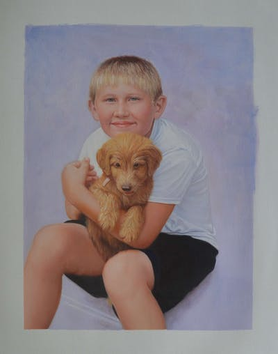 A painting of dog, dog like mammal, skin, mammal, vertebrate, dog breed group, nose, puppy, dog breed, boy