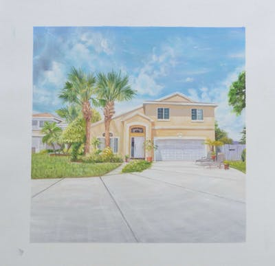 A painting of home, property, house, estate, real estate, residential area, facade, elevation, building, cottage