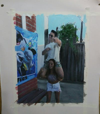 A painting of vacation, fun, recreation, muscle, tourism, girl, product, street
