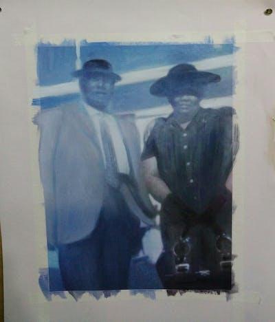 A painting of photograph, man, snapshot, male, phenomenon, cool, fun, gentleman