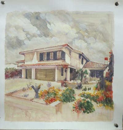 A painting of property, house, home, real estate, estate, residential area, villa, facade, elevation, roof