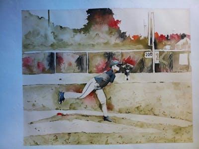 A painting of baseball player, baseball equipment, bat and ball games, baseball positions, baseball, baseball field, sport venue, college baseball, baseball park, baseball bat