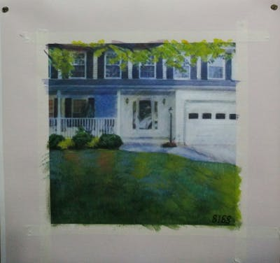 A painting of home, property, house, siding, estate, yard, real estate, porch, backyard, residential area