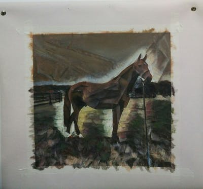 A painting of horse, bridle, halter, mare, mane, stallion, horse like mammal, pasture, grass, horse tack