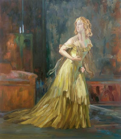 A painting of painting, art, lady, dress, modern art, impressionist, portrait, girl, artwork, costume design
