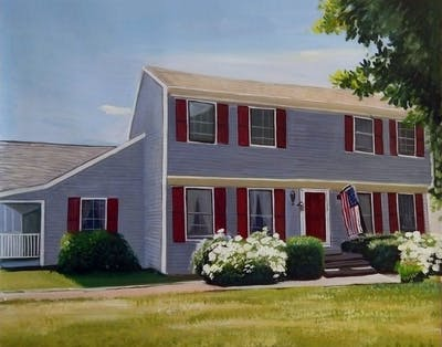 A painting of home, property, house, siding, real estate, residential area, window, estate, roof, cottage