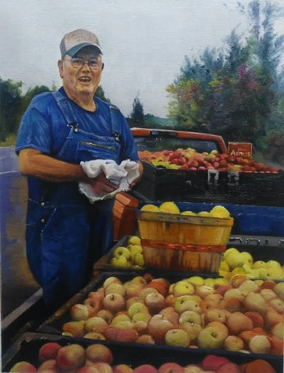 A painting of natural foods, produce, local food, food, fruit, vendor, vegetable, marketplace, greengrocer, apple