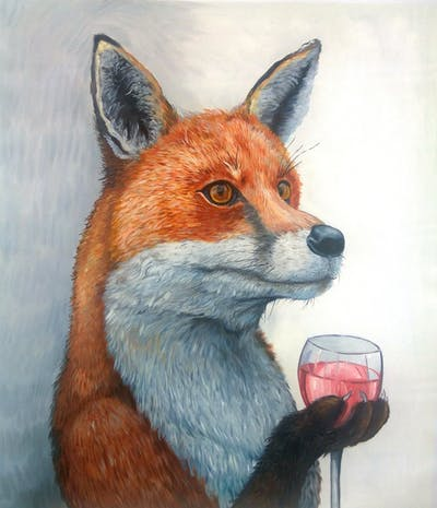 A painting of fox, red fox, mammal, wildlife, fauna, dog like mammal, painting, fur, carnivoran, snout