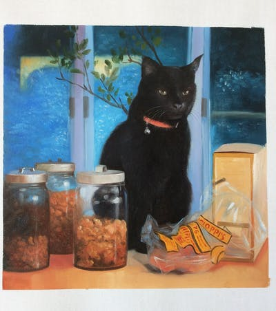 A painting of cat, small to medium sized cats, whiskers, square, cat like mammal