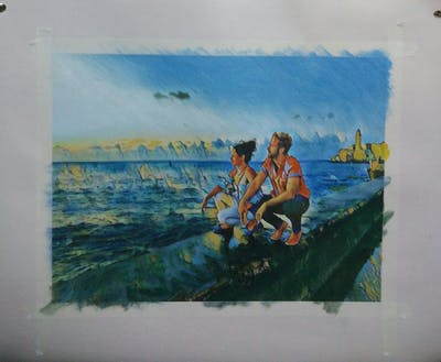 A painting of water, painting, sea, leisure, fun, art, tourism, sky, vacation, summer
