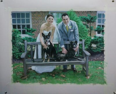 A painting of plant, tree, garden, backyard, furniture, ceremony, dog like mammal, grass, event, yard