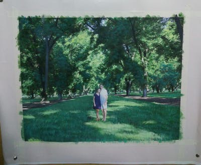 A painting of green, nature, tree, lawn, grass, plant, garden, leaf, park, woodland
