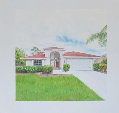 A painting of home, property, house, estate, real estate, residential area, villa, facade, land lot, elevation