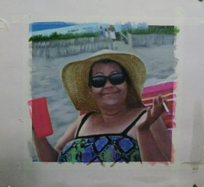 A painting of sunglasses, vacation, glasses, headgear, fun, eyewear, vision care, summer, tourism, sun tanning