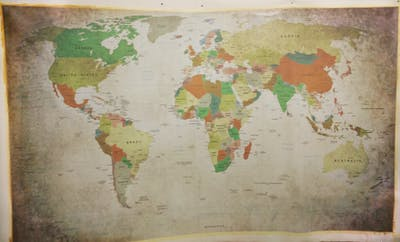 A painting of wall, texture, art, map, painting, world