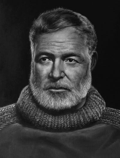 A painting of facial hair, person, face, man, black and white, portrait, beard, head, monochrome photography, chin