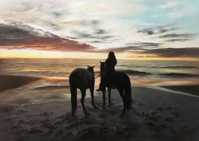 A painting of sky, horse, horse like mammal, beach, sea, sunset, ocean, cloud, sunrise, fun