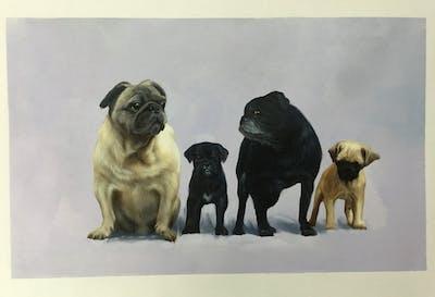 A painting of dog, dog like mammal, pug, mammal, dog breed, dog breed group, snout, carnivoran, giant dog breed