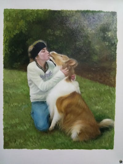 A painting of dog, dog breed, dog breed group, dog like mammal, grass, companion dog, sporting group, nova scotia duck tolling retriever, collie, golden retriever