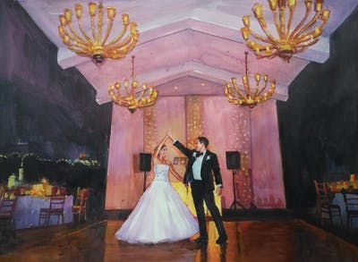 A painting of photograph, ceremony, function hall, wedding reception, wedding, event, dress, ballroom, bride, tradition