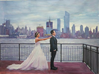 A painting of photograph, man, bride, wedding, dress, ceremony, male, wedding dress, gown, bridal clothing